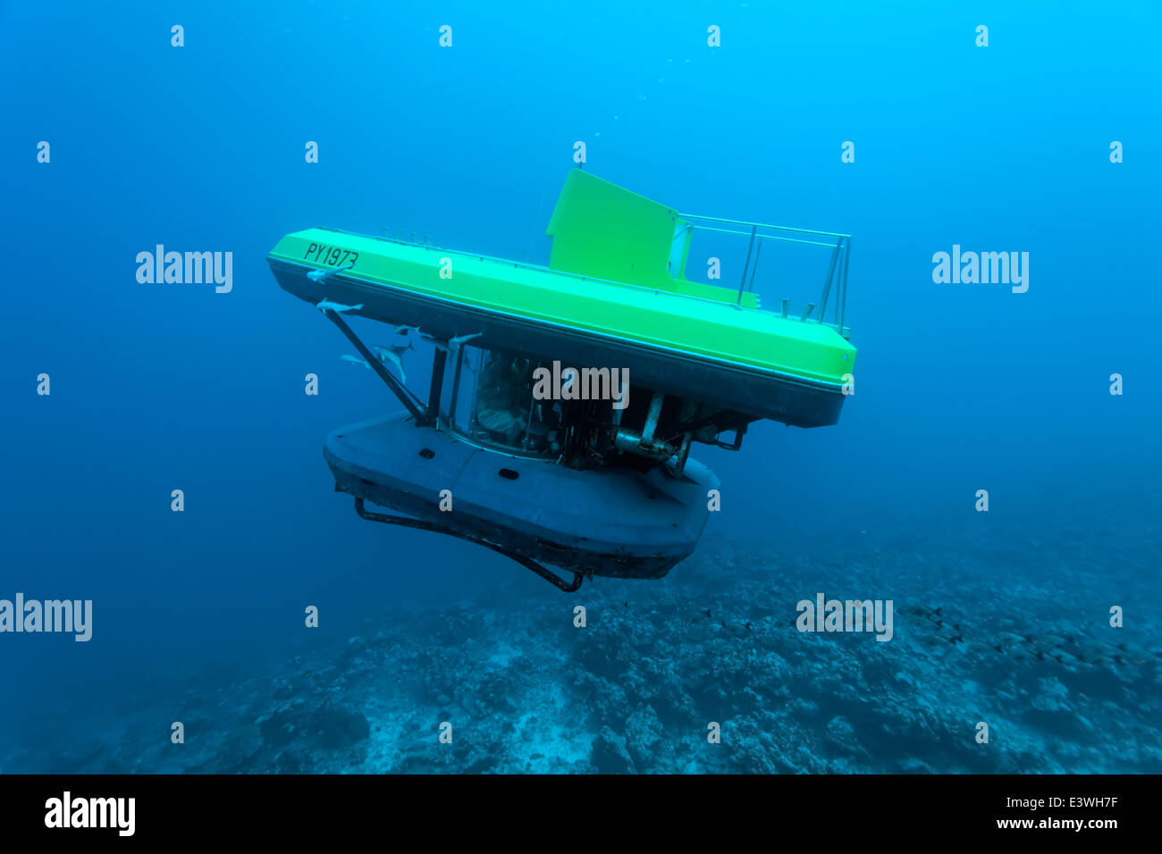 Submarine with tourists, dive at a coral reef, Bora Bora, Leeward Islands, Society Islands, French Polynesia, France - Stock Image
