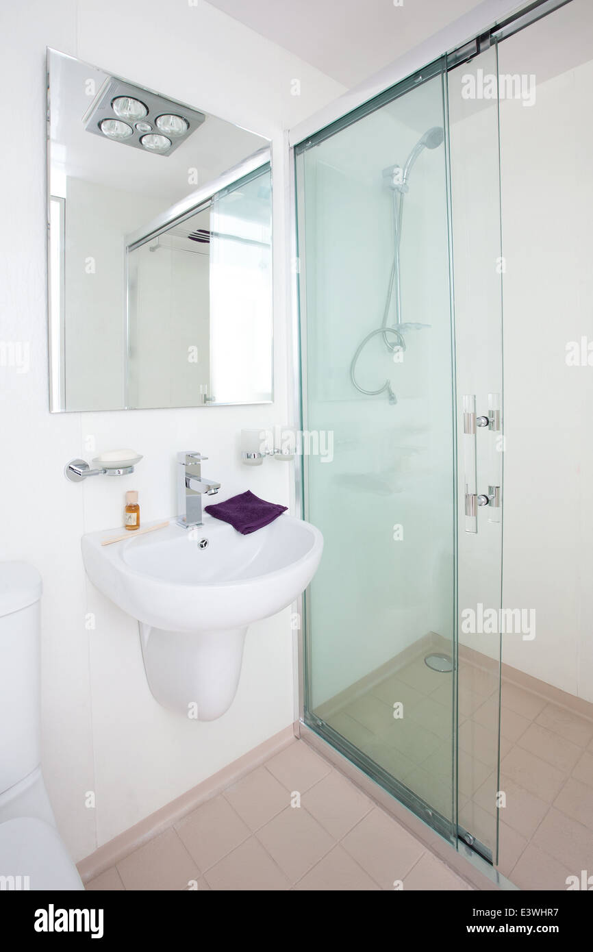 clean compact modern bathroom new commercial. including - mirror ...