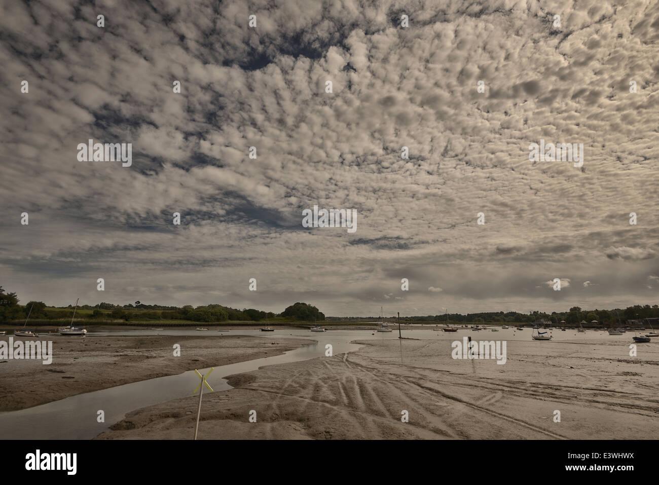 Woodbridge, Suffolk, River, Debden, tide out, mud - Stock Image