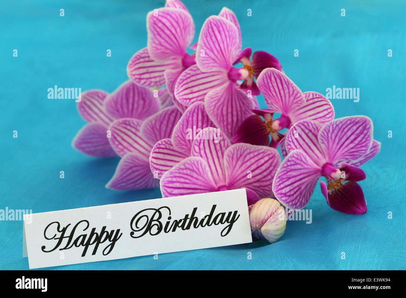 Happy birthday card pink orchid stock photos happy birthday card happy birthday card with pink orchids stock image izmirmasajfo