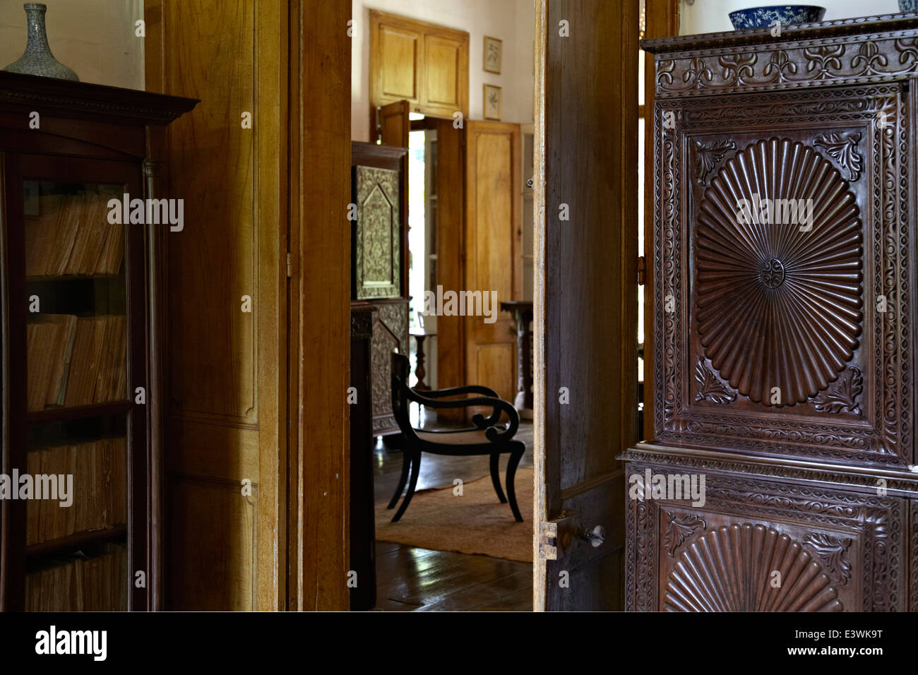 View into drawing room in La Maison Creole a French colonial house also known as Eureka or house of 109 doors in - Stock Image