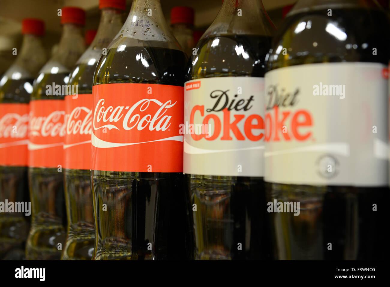 Coca Cola and Diet Coke bottles - Stock Image