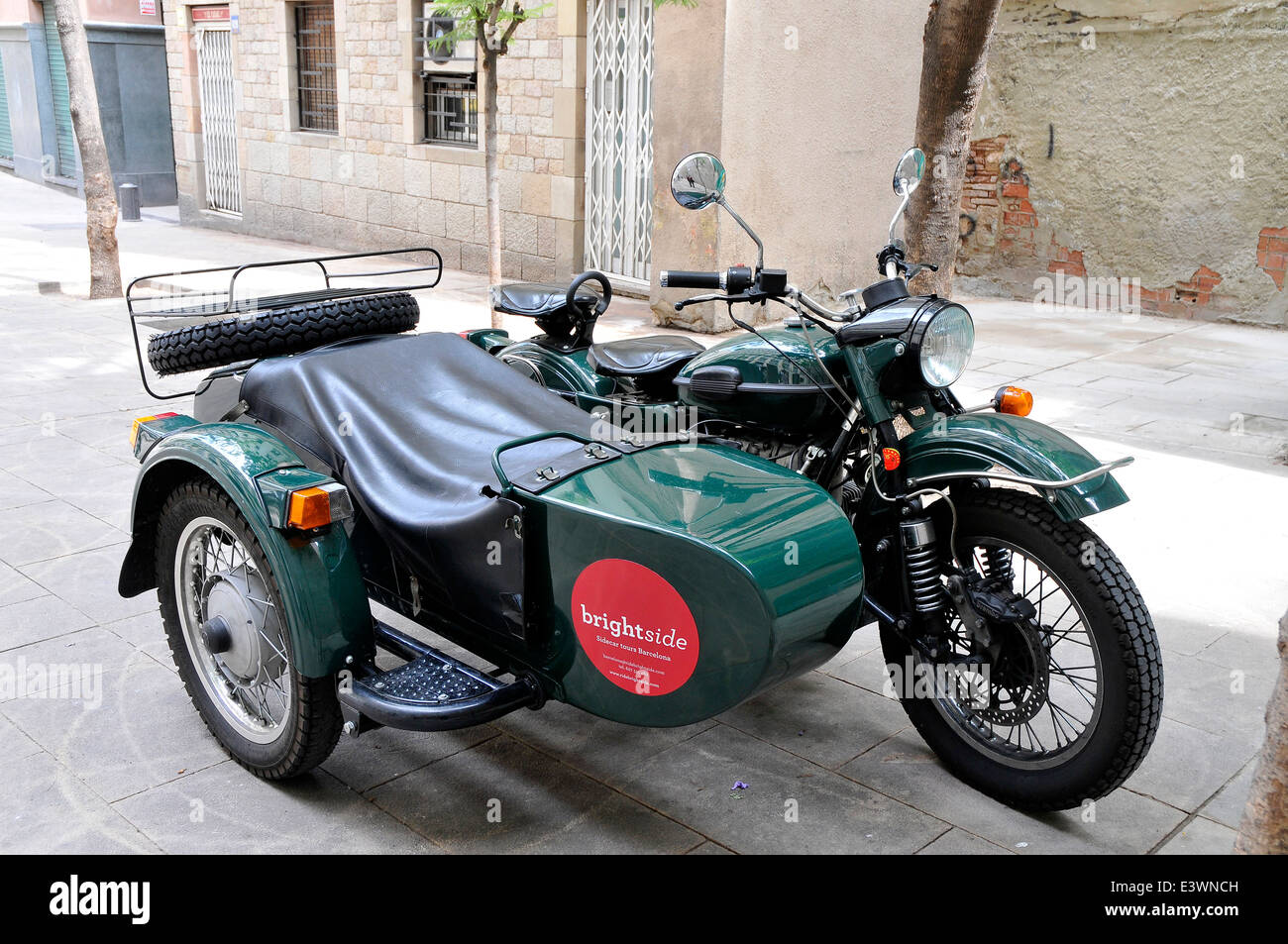 motorcycle with sidecar Barcelona touristic offer for tours around the city - Stock Image