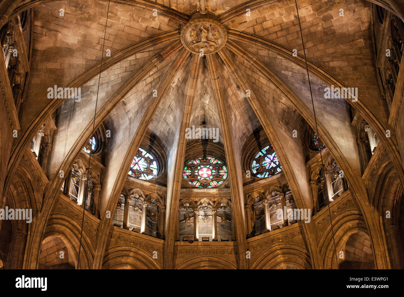 Gothic Ribbed Vault Of The Apse In Barcelona Cathedral Catalonia Spain