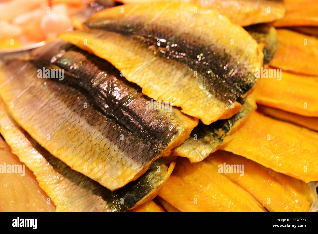 Smoked kipper fillets - Stock Image