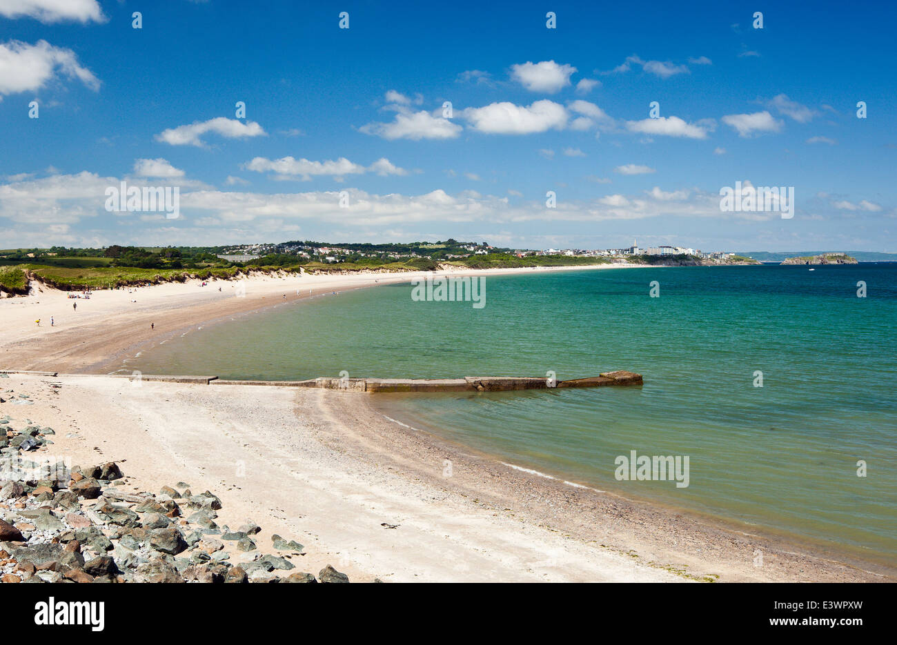 South beach, The Burrows, Tenby, Wales. Stock Photo