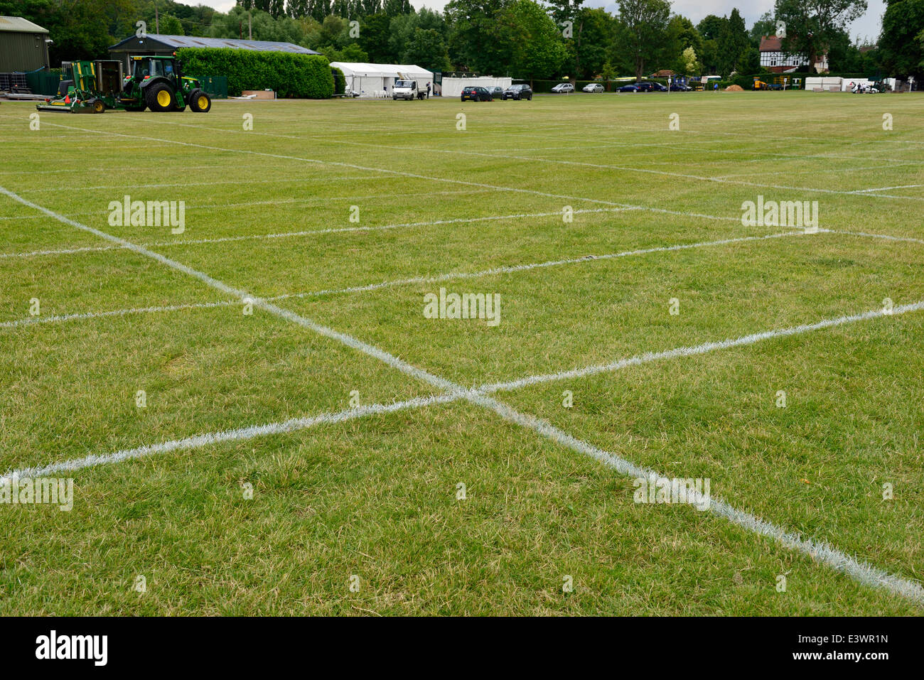 Marked out motor car spaces  at Lion Meadow in preparation for  people taking  luncheon  and afternoon tea besides - Stock Image