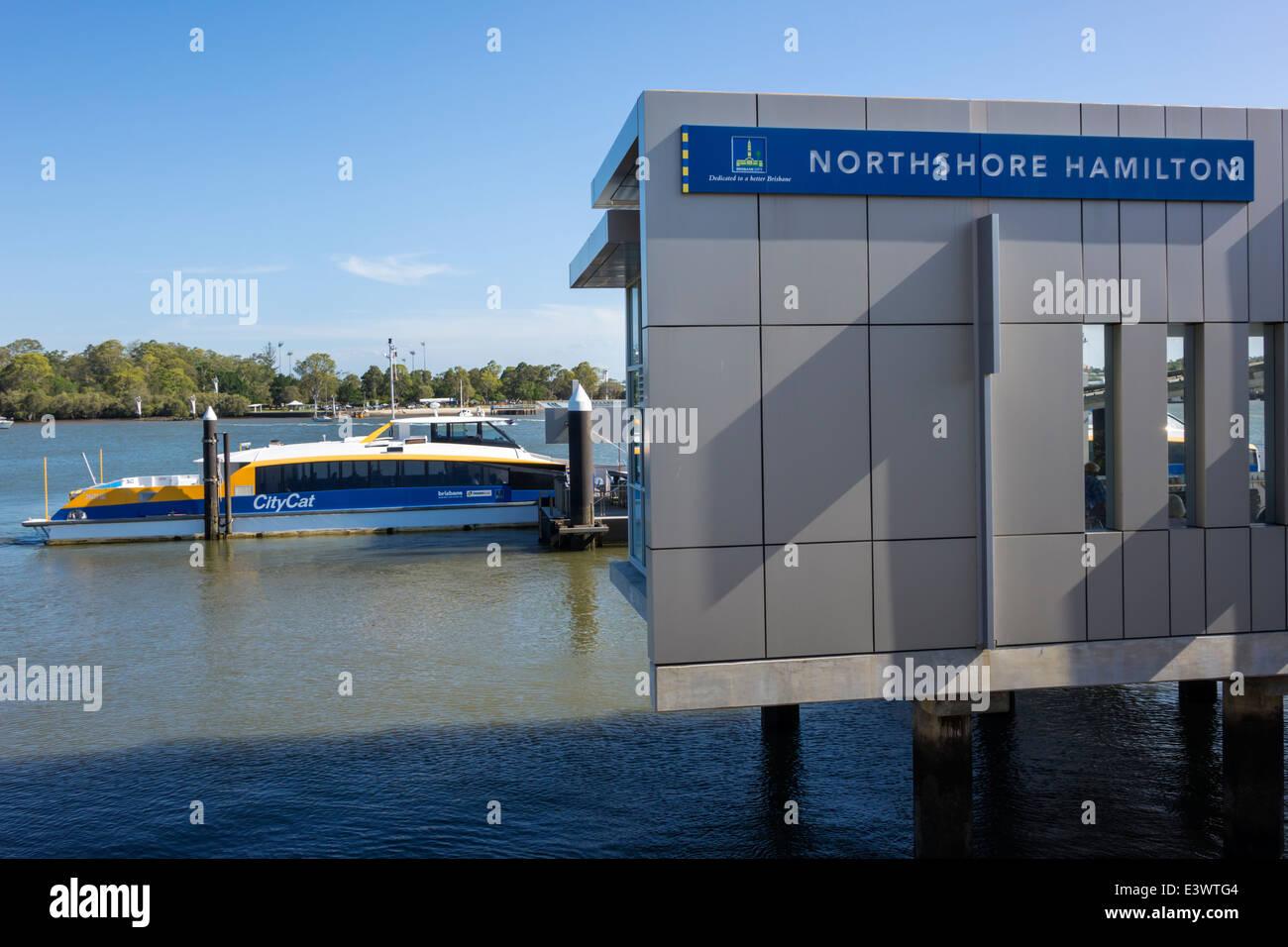 Brisbane Australia Queensland Brisbane River NorthShore Hamilton Ferry Terminal ferry boat public transportation - Stock Image