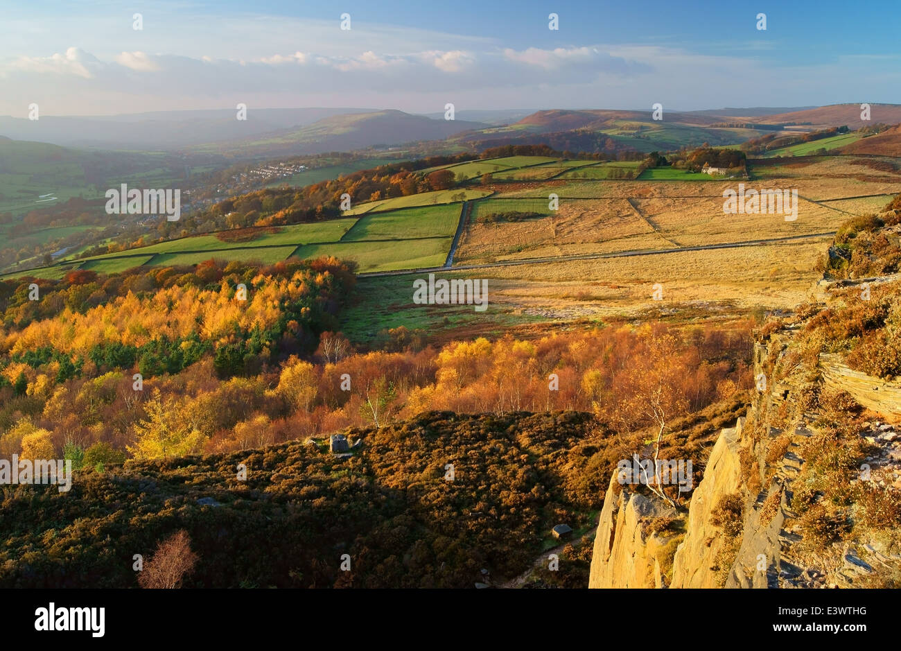 UK,Derbyshire,Peak District, Looking Towards Hathersage from Millstone Edge - Stock Image