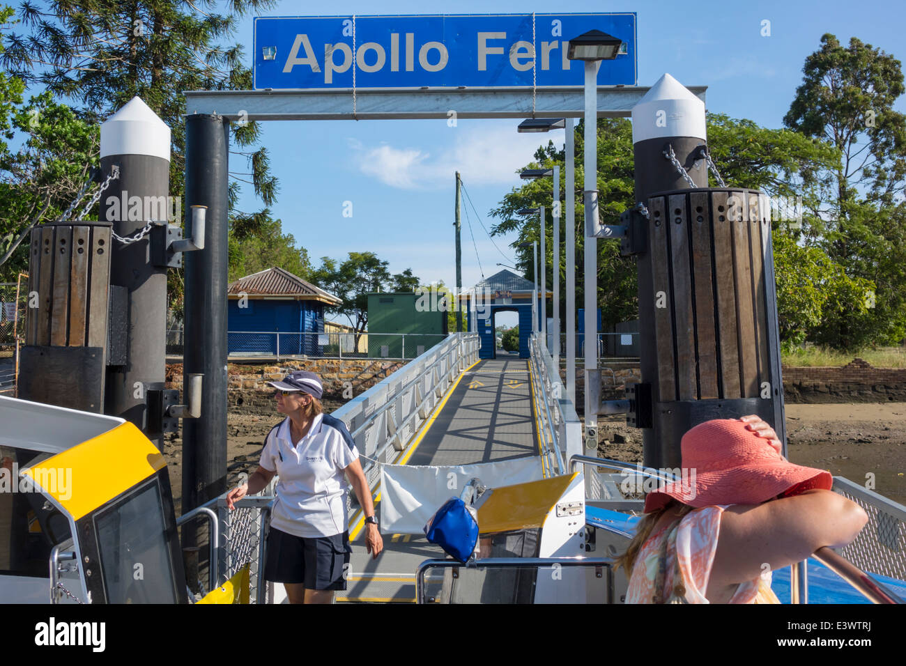 Brisbane Australia Queensland Bulimba Brisbane River Apollo Ferry Terminal ferry boat public transportation CityCat - Stock Image