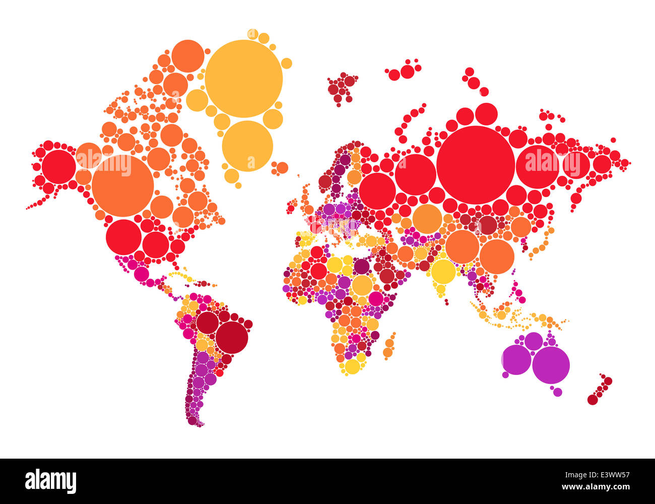 Political Abstract Dot World Map With Countries Vector Illustration