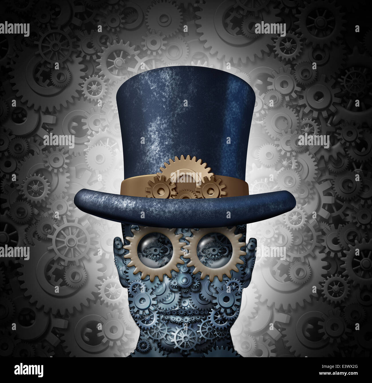 Steampunk science fiction concept as a fantasy mechanical human head made of gears and cogs wearing a historical - Stock Image