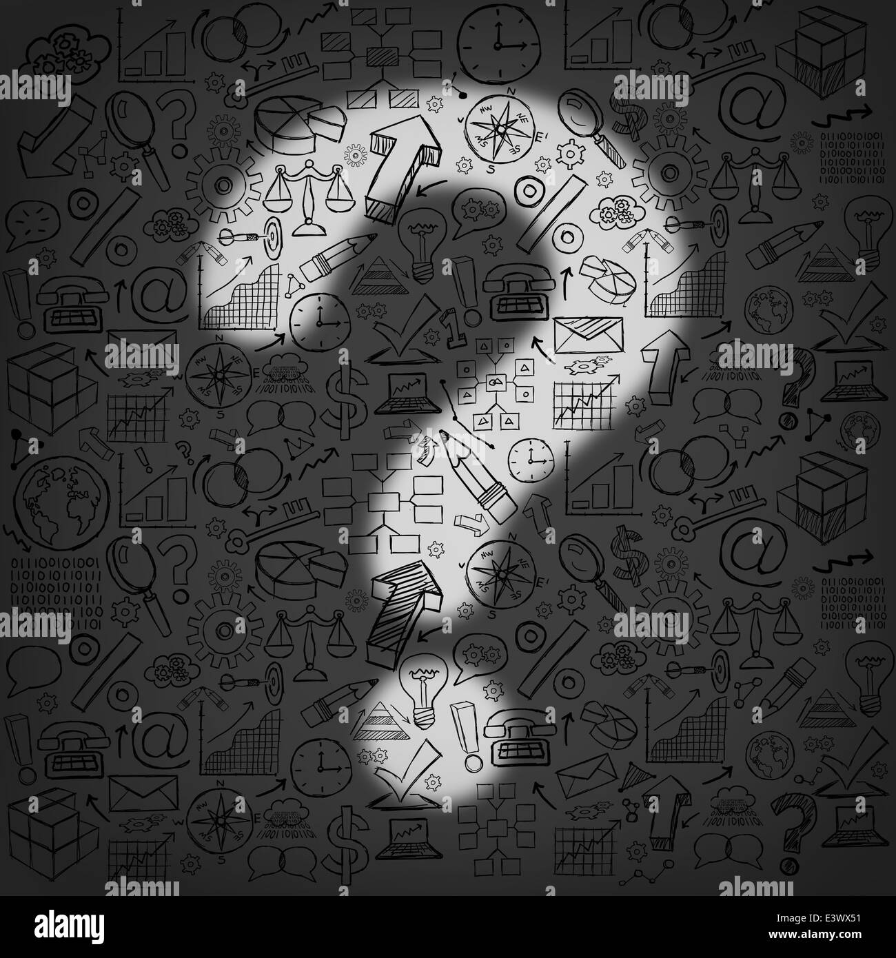 Business questions concept as a dark wall of financial icons and symbols with an illuminated light shaped as a question - Stock Image