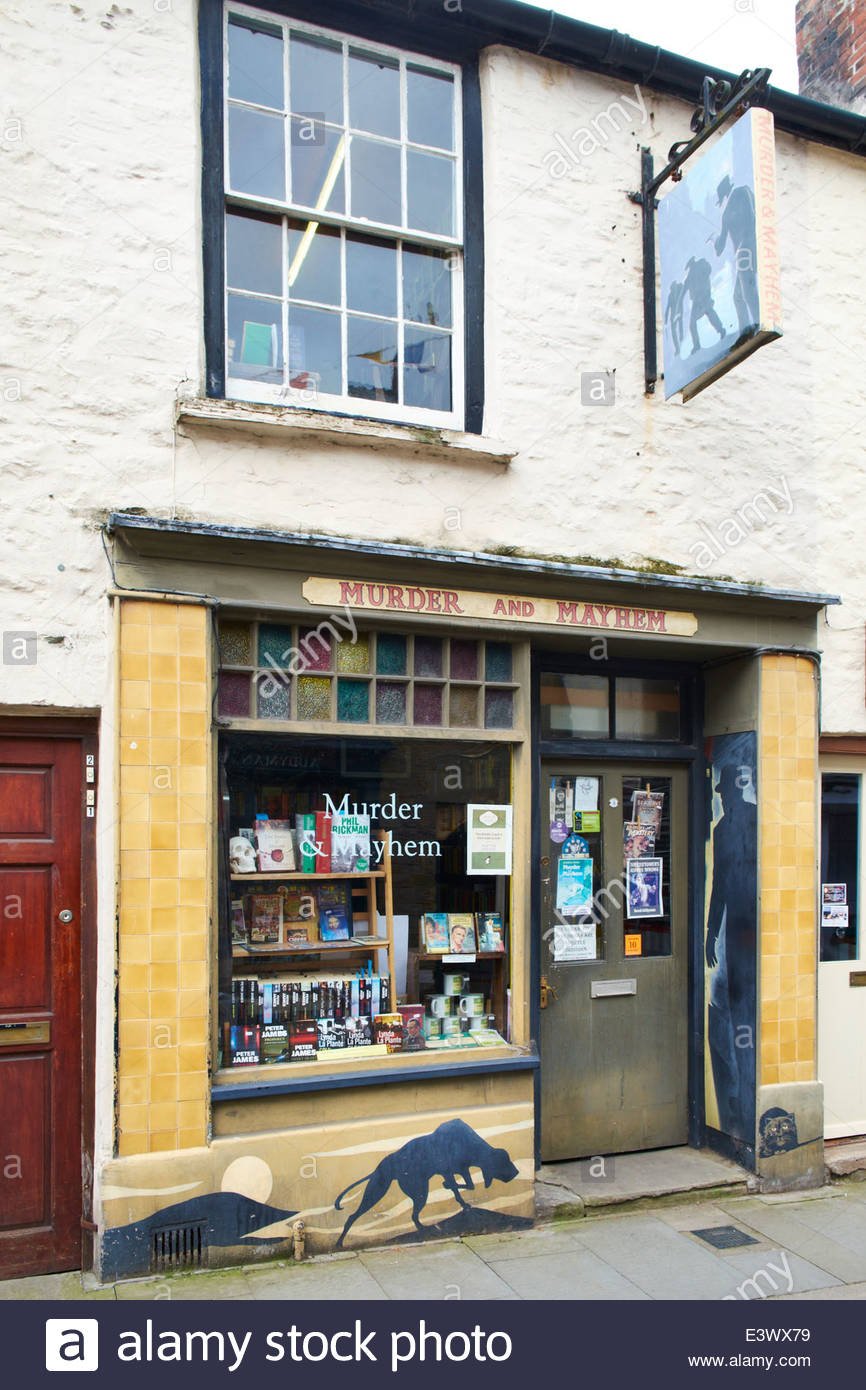 Murder and Mayhem bookshop Hay-on-Wye - the book town - Stock Image