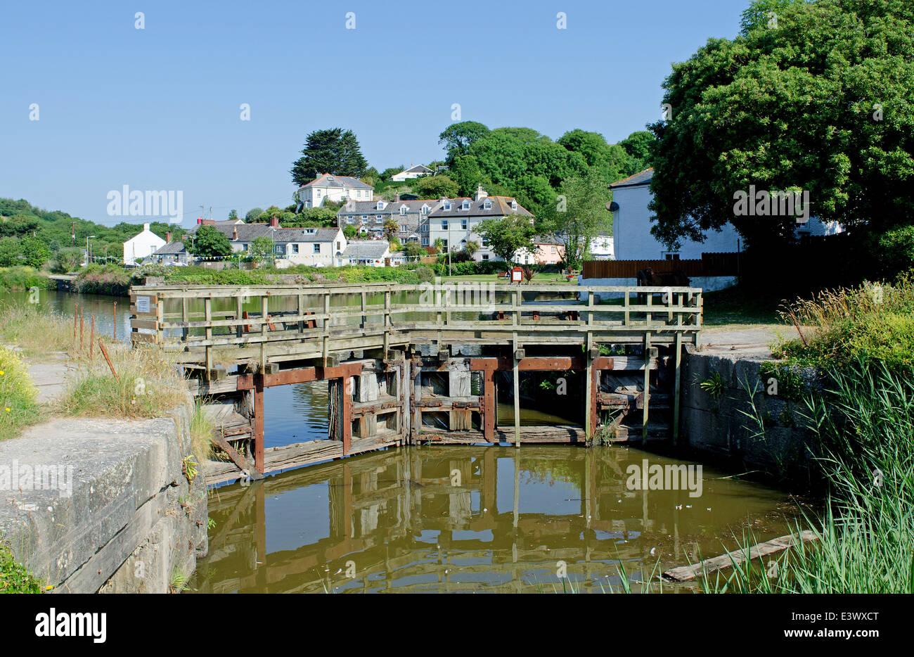 the old lock gates at Pentewan in cornwall, uk - Stock Image