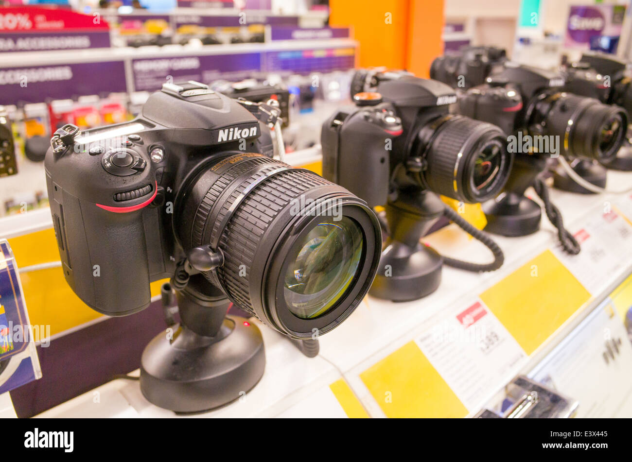 Nikon DSLR cameras on display at Currys PC World, England, UK - Stock Image