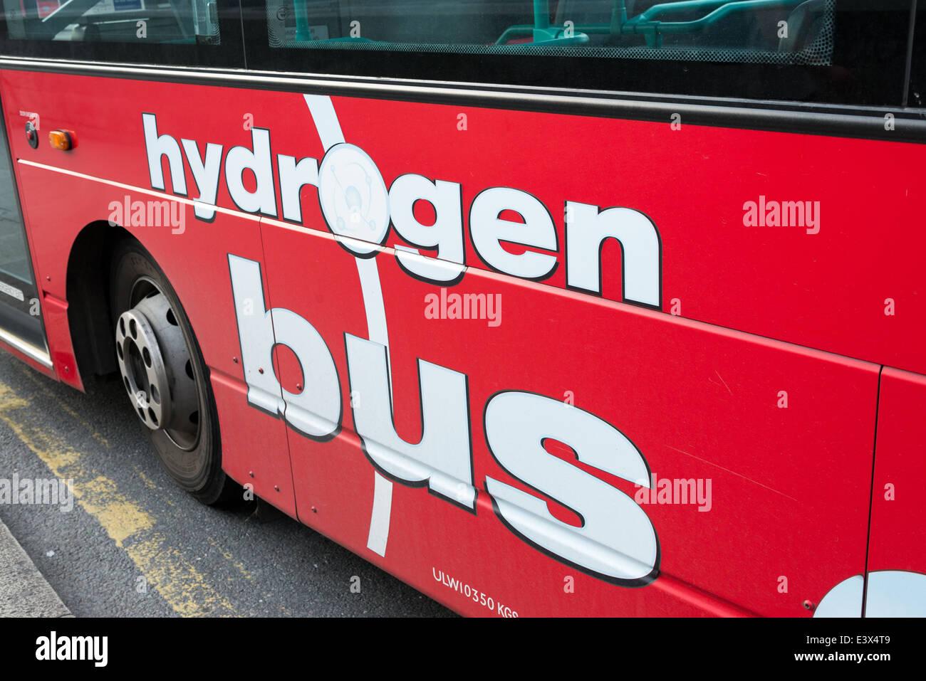 Hydrogen fuel powered bus, London, England, UK - Stock Image