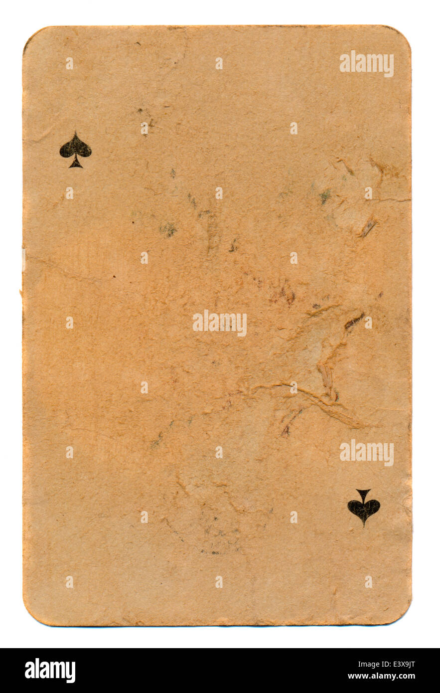 ancient grunge playing card of spades paper background - Stock Image