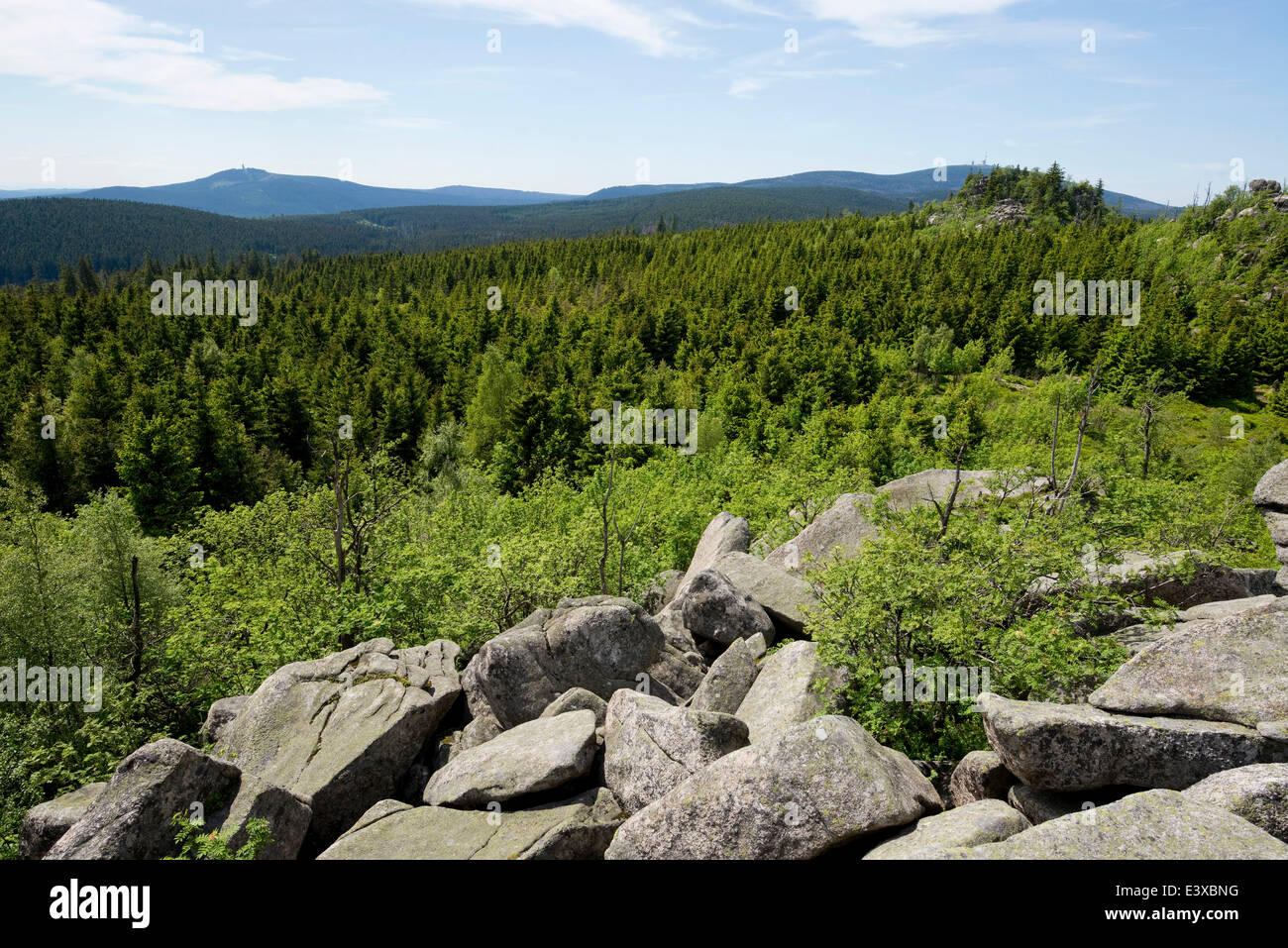 View from Hohnekamm saddle to Mt Wurmberg, left, and Mt Brocken, right, Harz National Park, Saxony-Anhalt, Germany - Stock Image