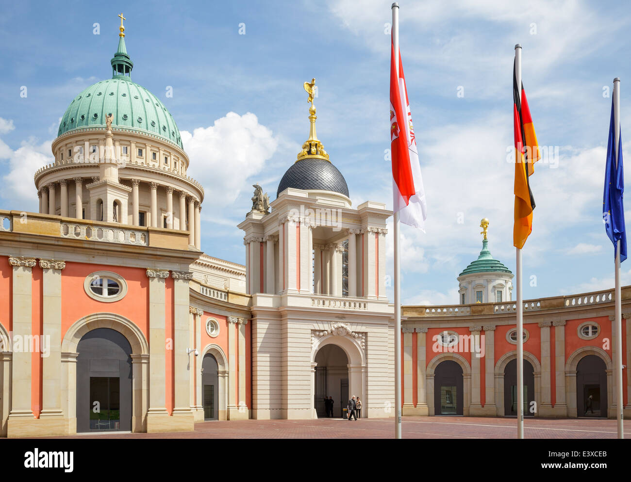 State Parliament and dome of Nikilaikirche, Potsdam, Brandenburg, Germany - Stock Image