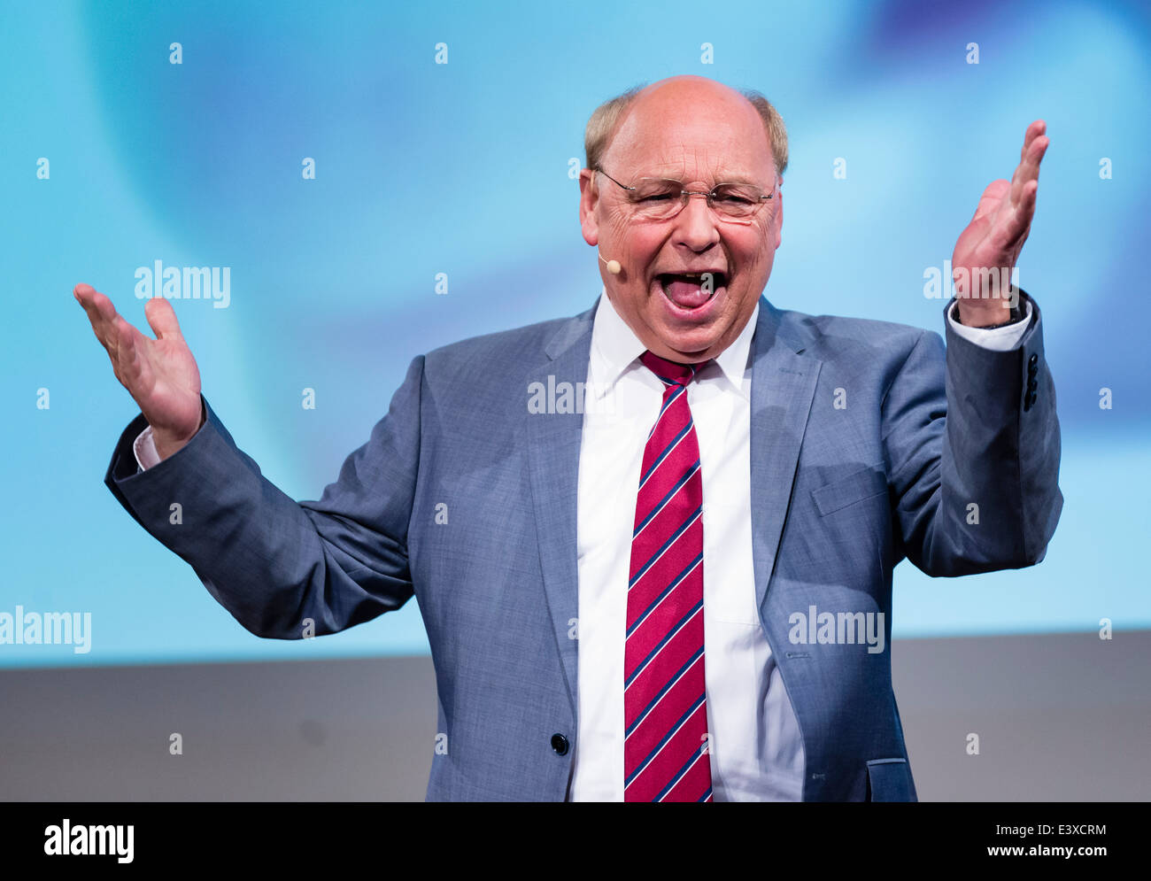 German actor, director, and comedian Hans-Joachim Heist performs his choleric character Gernot Hassknecht. - Stock Image