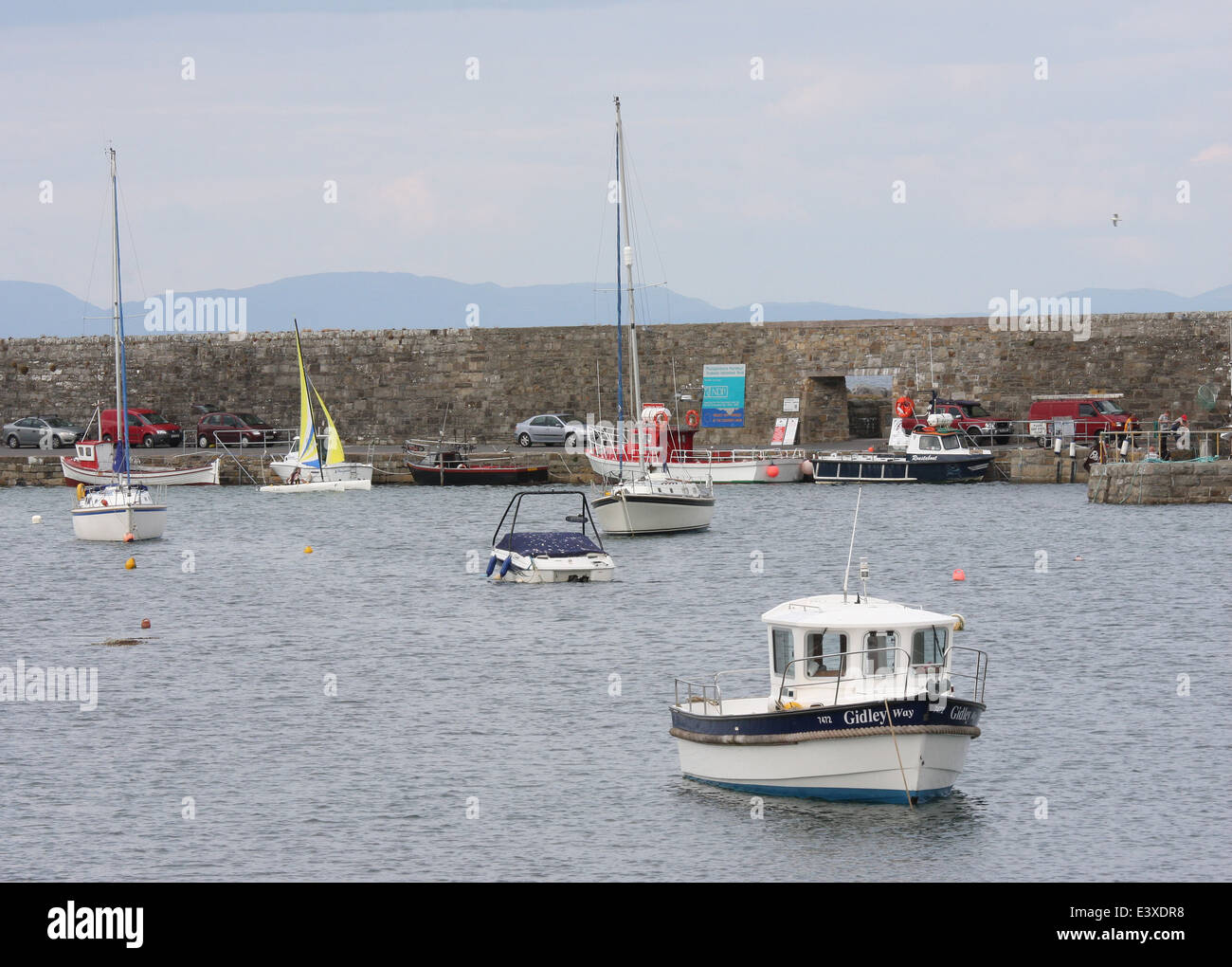 Fishing boats and pleasure craft in Mullaghmore harbour in County Sligo Ireland Stock Photo