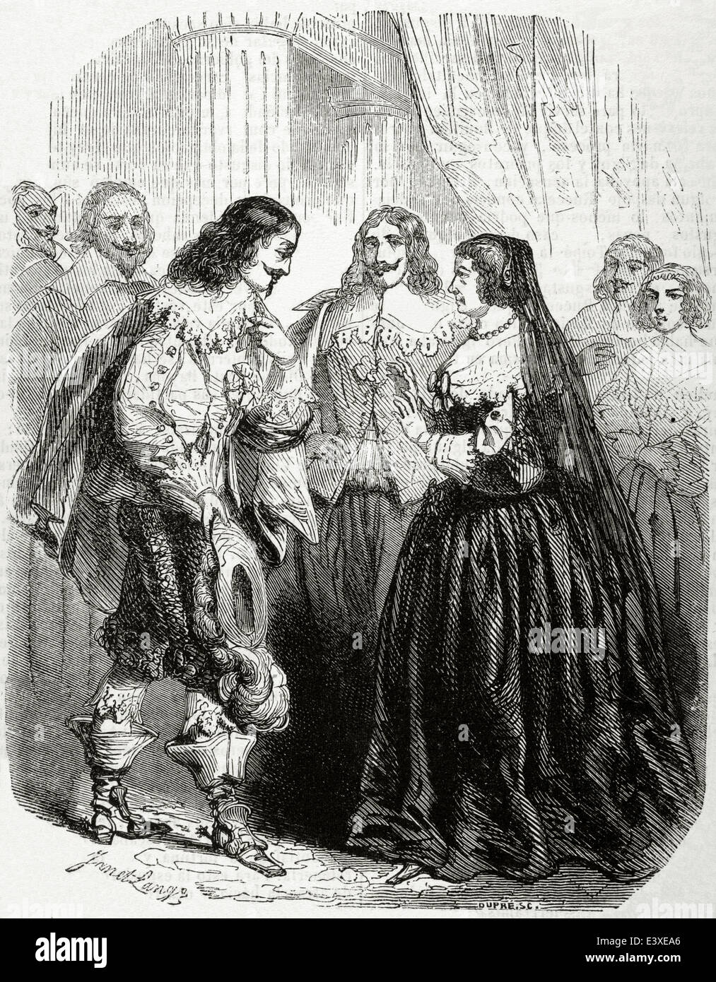 Louis XIII of France (1601-1643). Interview between Louis XIII and his mother Marie de Medici in Castle Coursière - Stock Image