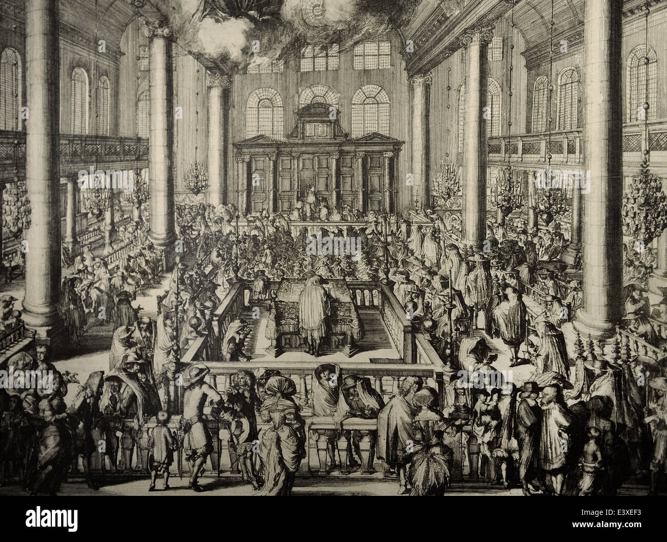 Portuguese Synagogue in Amsterdam. Inside. Scene cult initiation, 1675. Engraving. - Stock Image