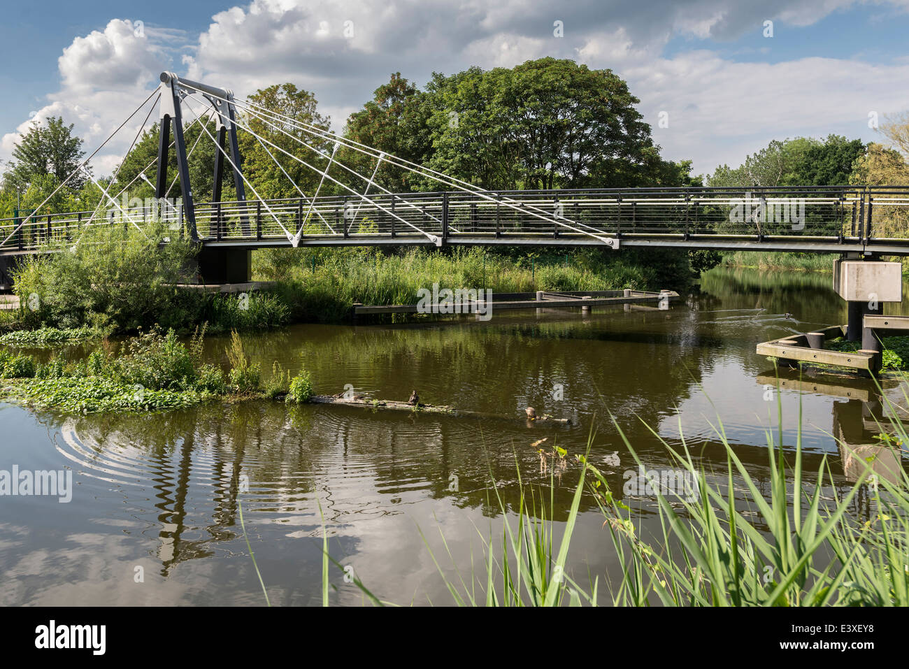 The new Riversdale Swing Bridge on the Weaver Navigation at Northwich, North West England. - Stock Image