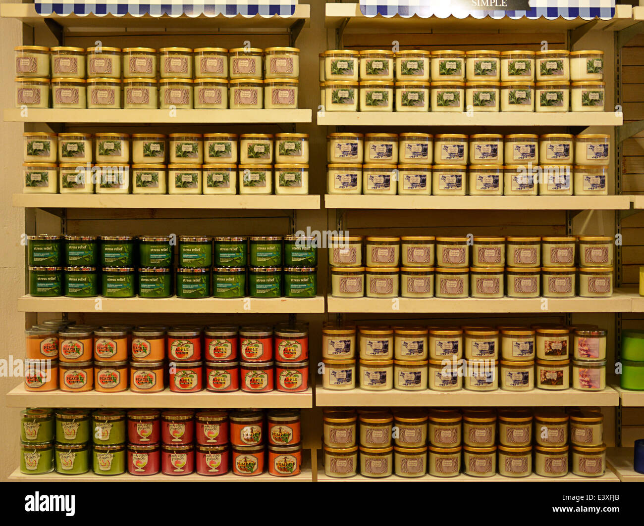 Scented candles for sale at a Bath & Body Works store on Austin Street in Forest Hills, Queens, New York City - Stock Image