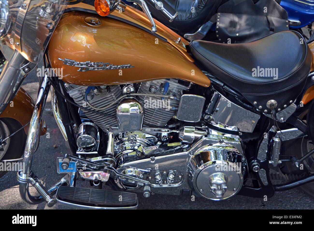 Closeup view of a Harley Davidson Softail motorcycle parked in Downtown Manhattan, New York City - Stock Image