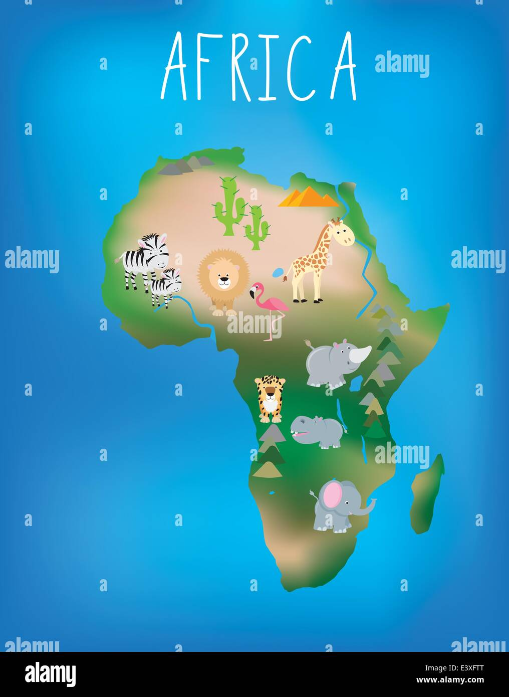 African world map brightly illustrated with cute child friendly african world map brightly illustrated with cute child friendly animals gumiabroncs Image collections