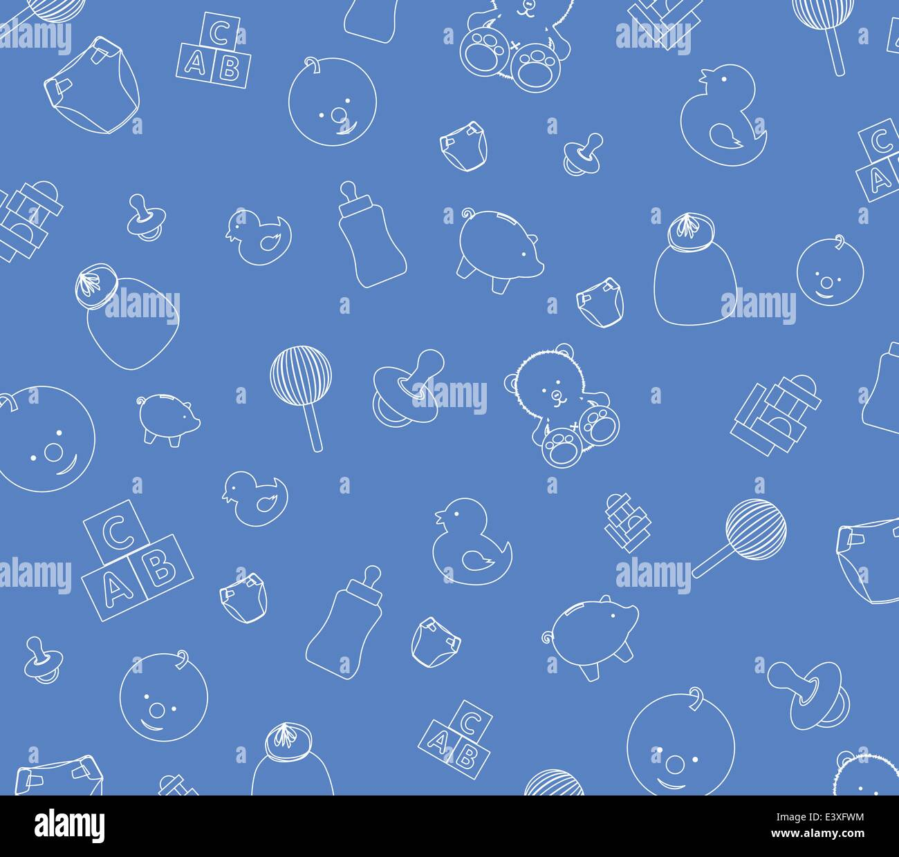 Illustration Of Blue Baby Wallpaper Background Stock Vector