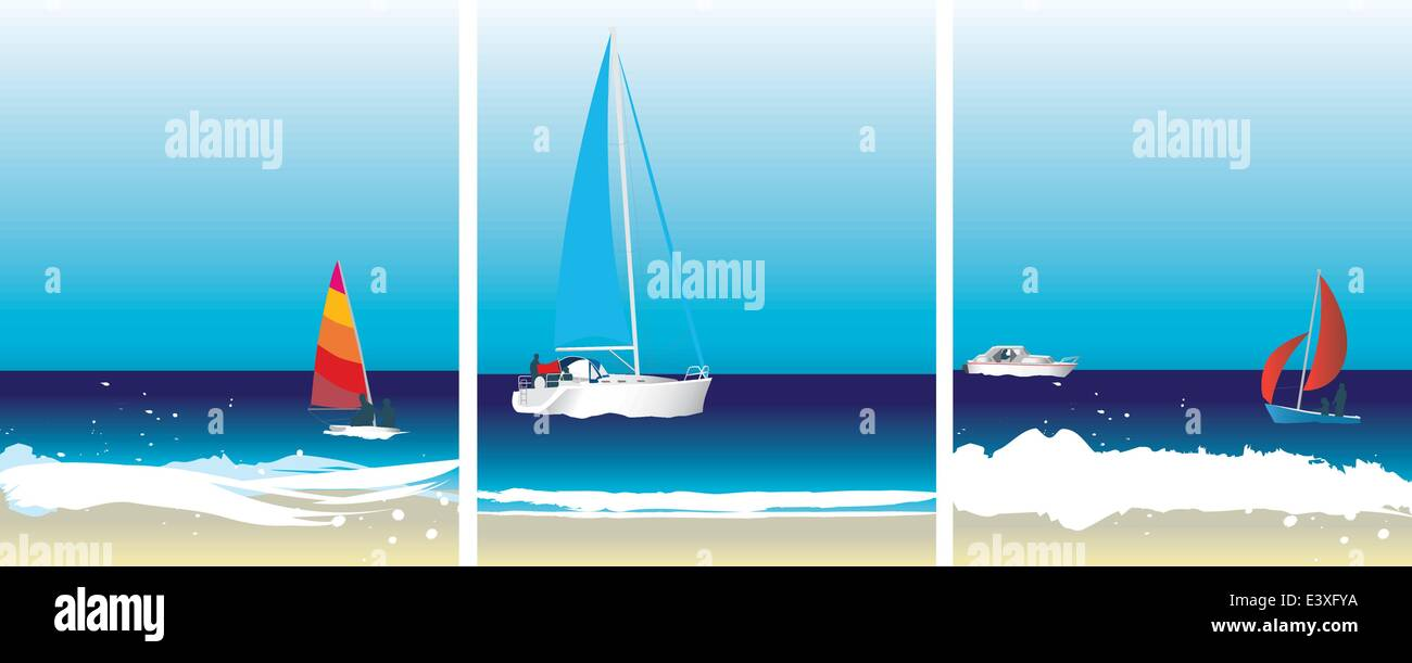 Set of illustration sailing and boat images on the ocean - Stock Image