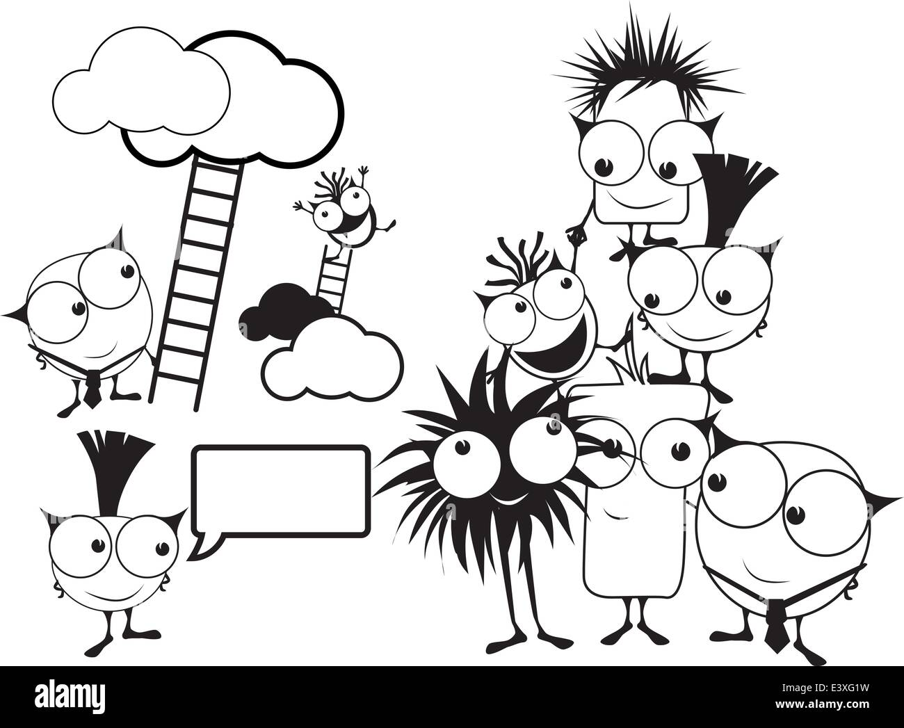 cartoon monster characters with a with a teamwork and challenge