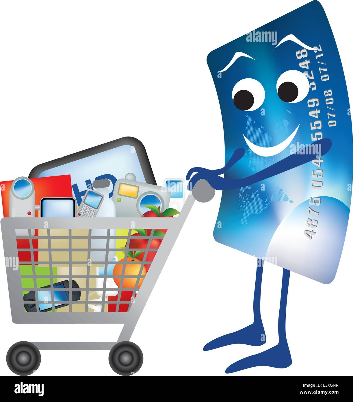illustration of credit card and shopping trolley cartoon stock