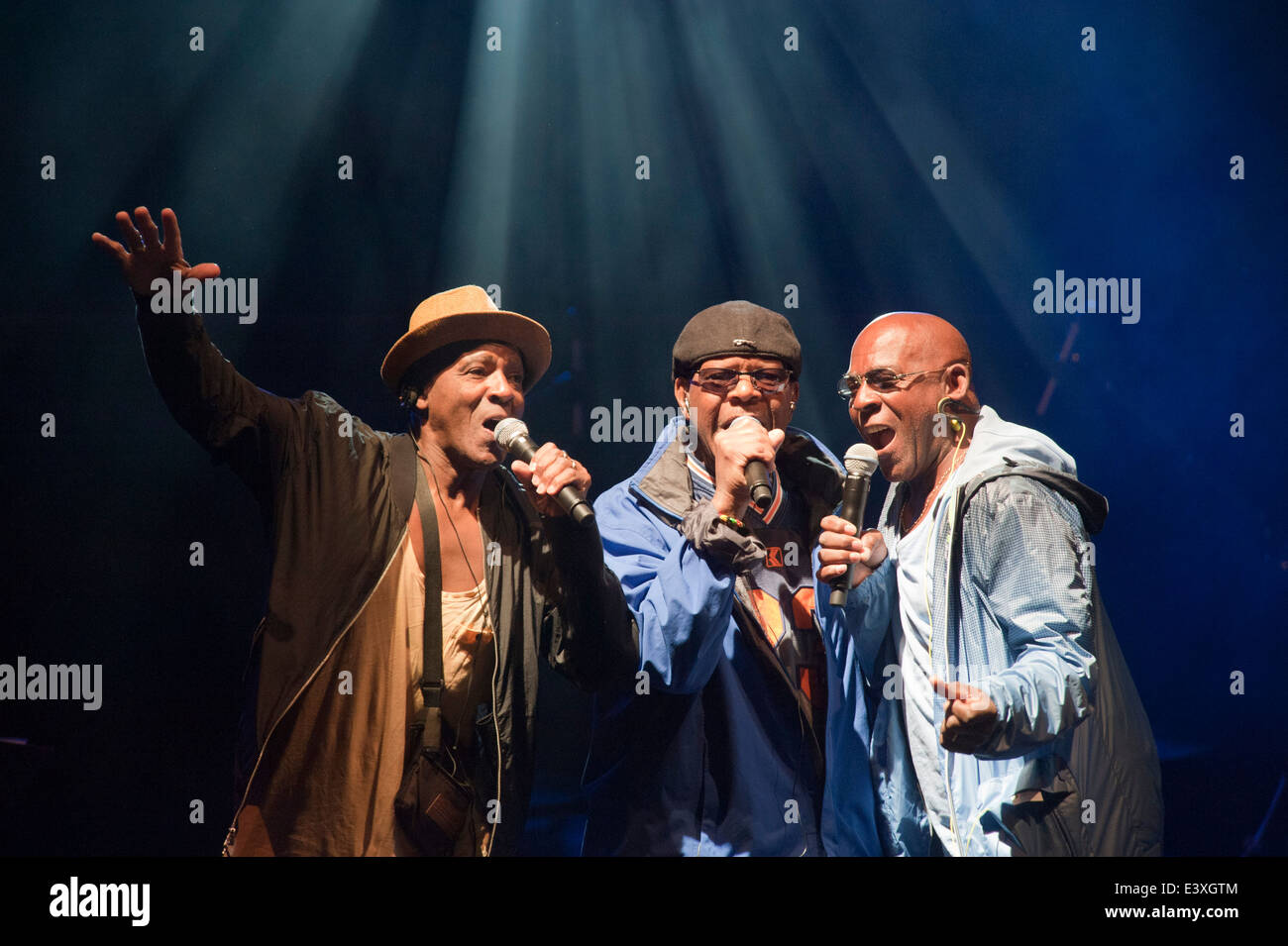 Racing from Newmarket Suffolk July Course. The Real Thing on Stage at Newmarket. Chris Amoo Dave Smith Eddie Amoo - Stock Image