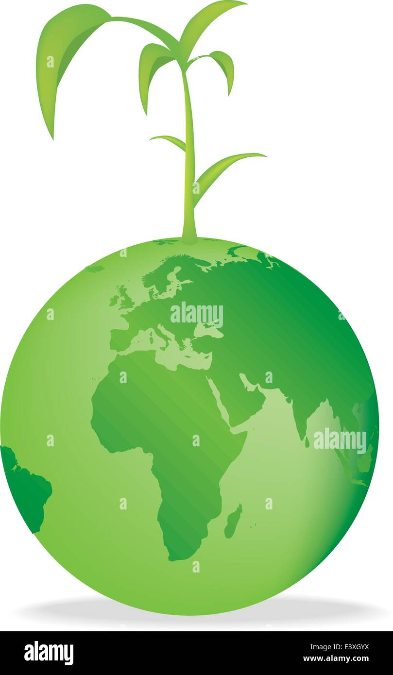 Vector illustration of the earth with a seedling growing - Stock Vector