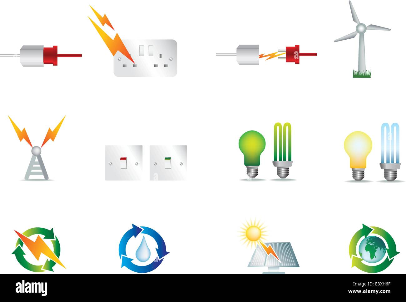electrical power detailed icon set collection of symbols Stock ...