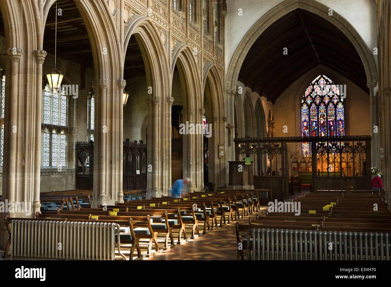 UK England, Suffolk, Lavenham, Parish Church of St Peter and St Paul, interior - Stock Image