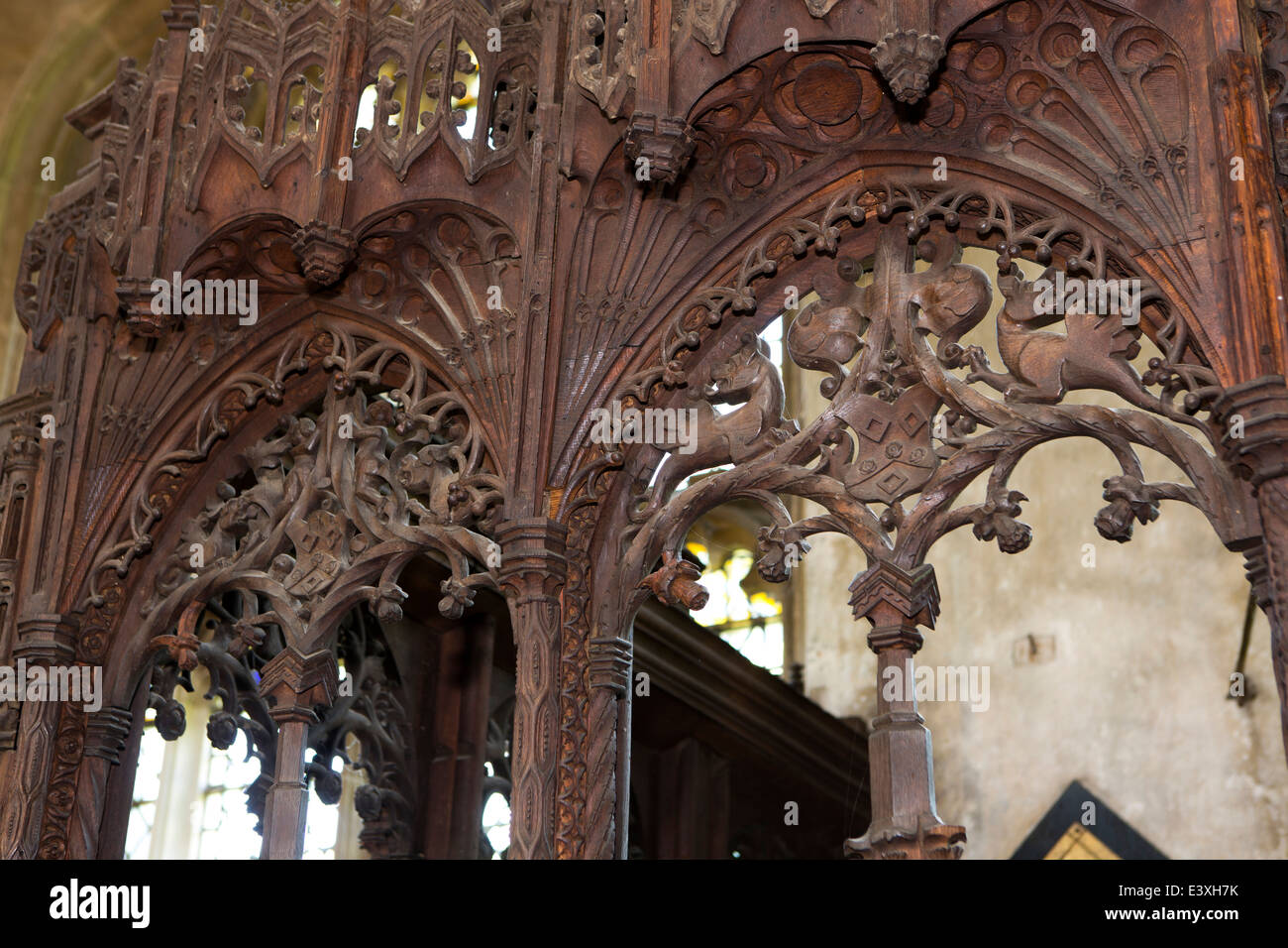 UK England, Suffolk, Lavenham, Parish Church, Thomas Spourne Parclose carving detail - Stock Image