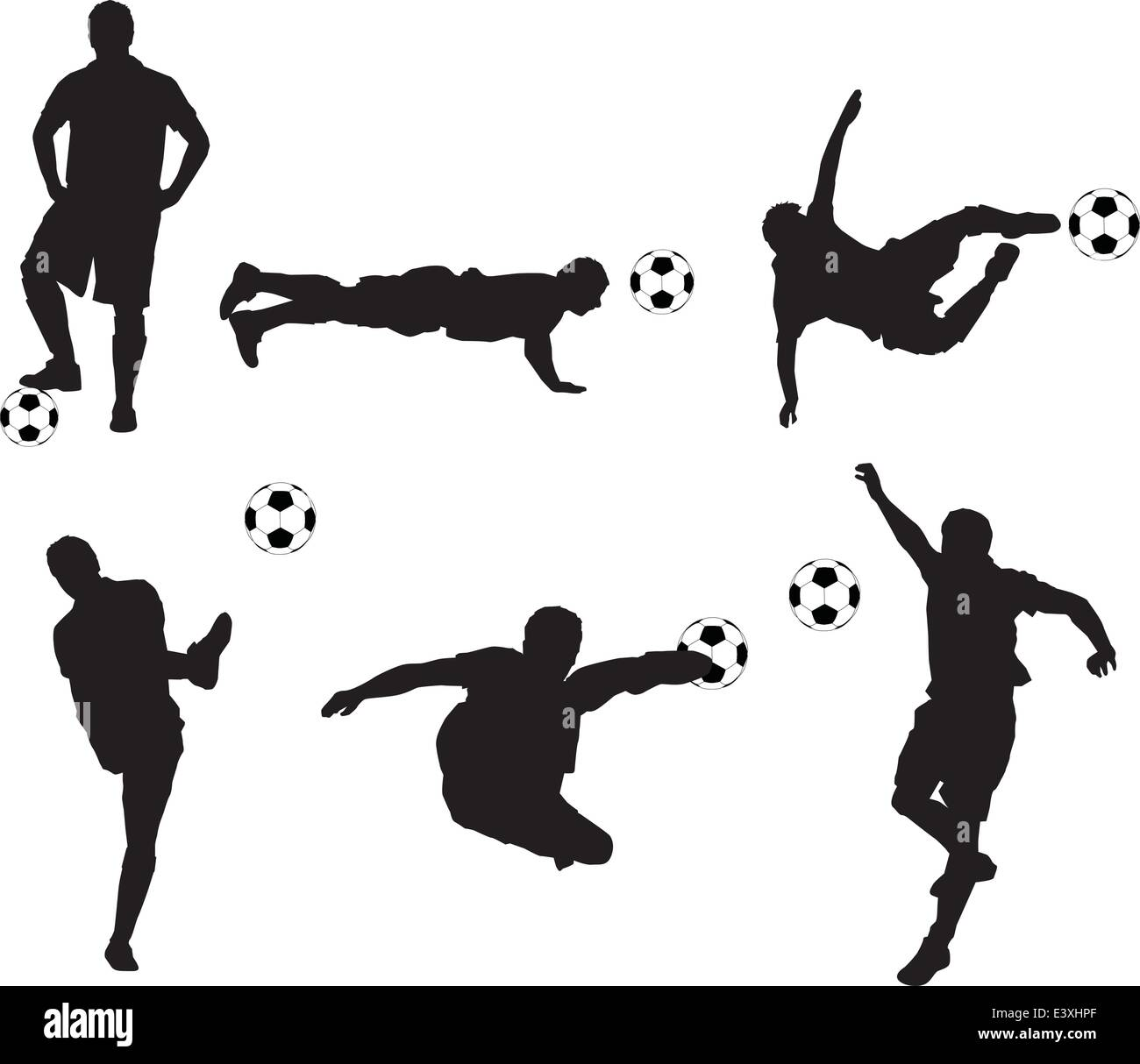 set of detailed illustration silhouettes of soccer players - Stock Vector