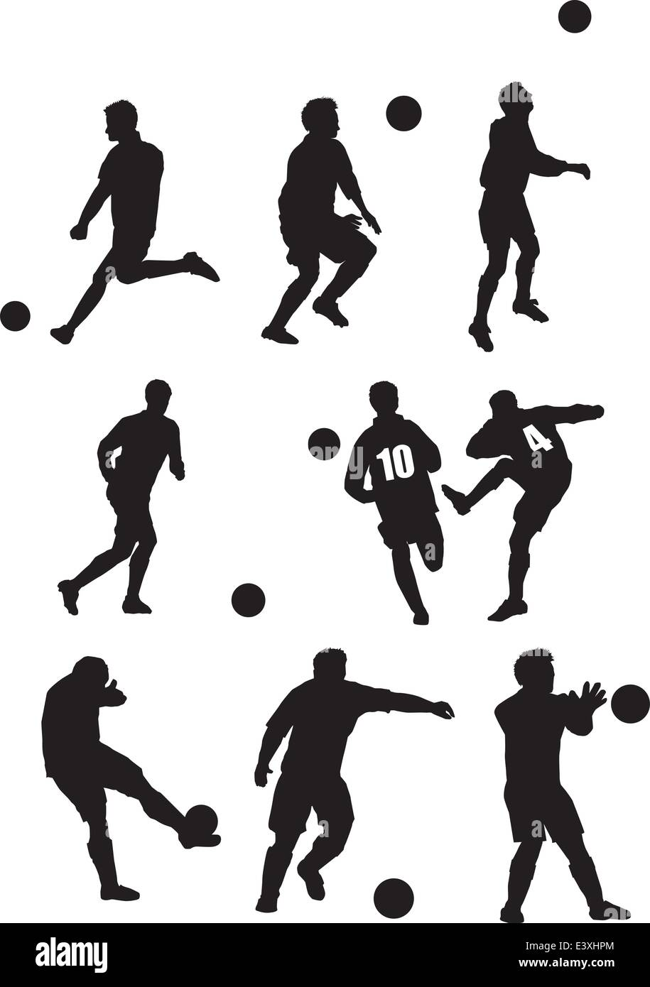Illustration of  a set of footballer silhouettes - Stock Vector