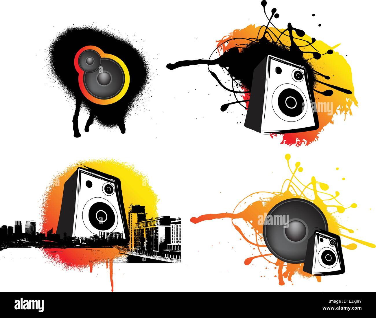 black and ornage urban music set of 4 graphics - Stock Image