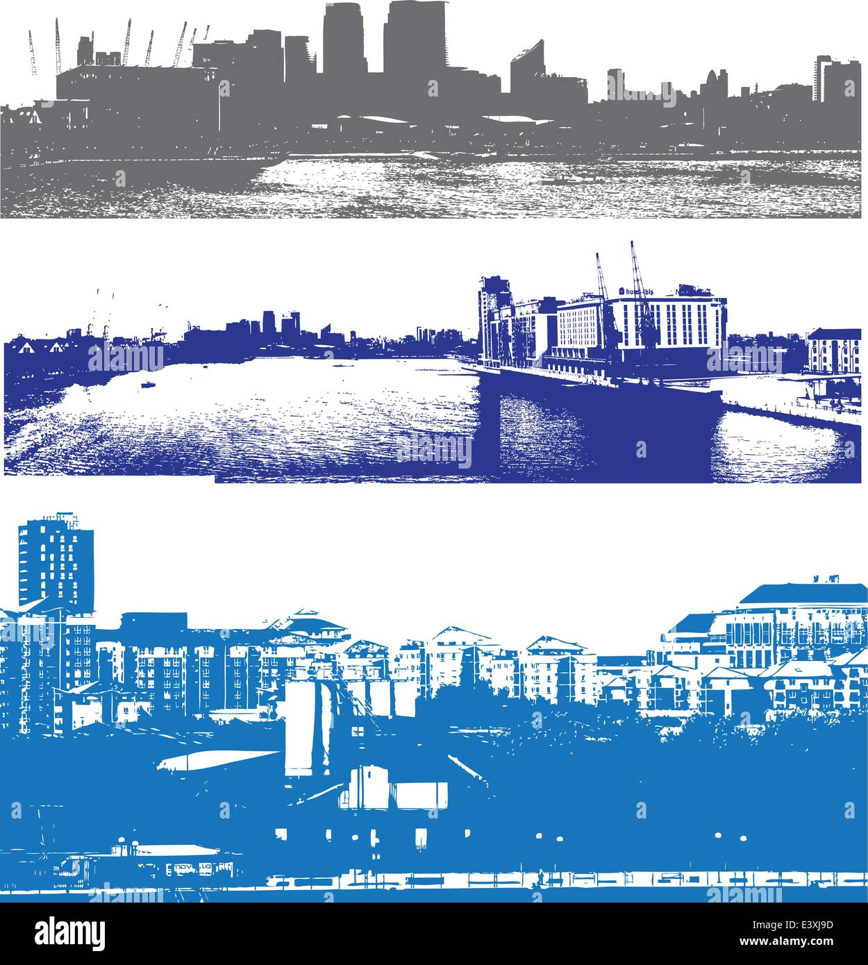 London skyline as viewed from the docklands in a grunge urban style - Stock Vector