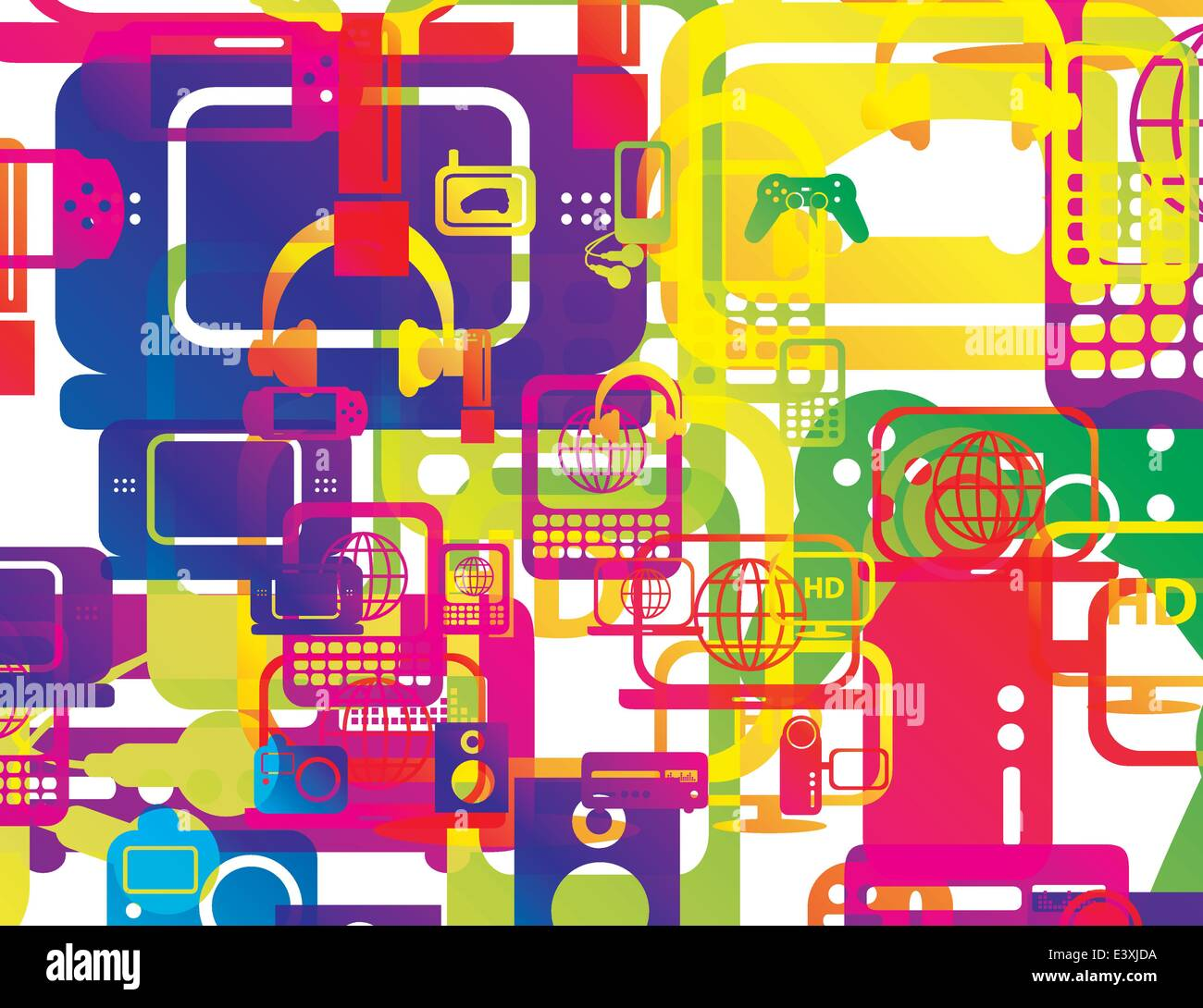 vector illustration of a selection of computer and technology hardware layered and multiplied to create an abstract - Stock Image