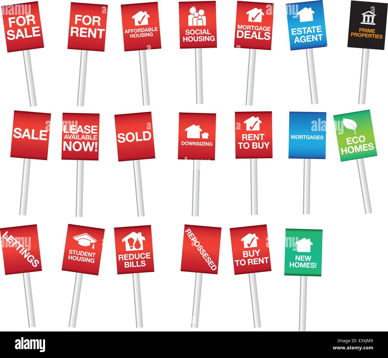 vector illustrations of housing signs - Stock Vector