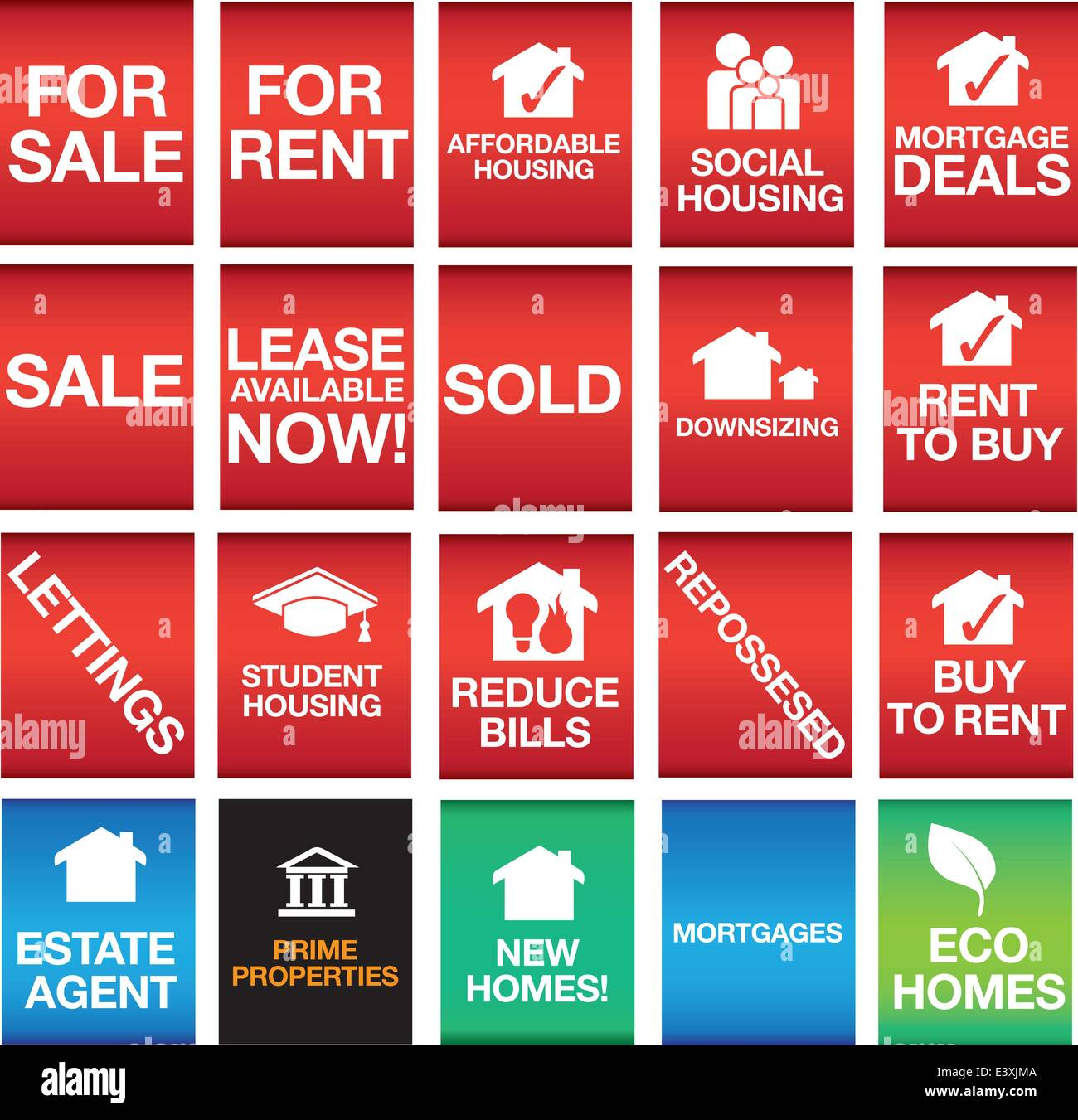 for sale, rent, lettings, housing - Stock Vector
