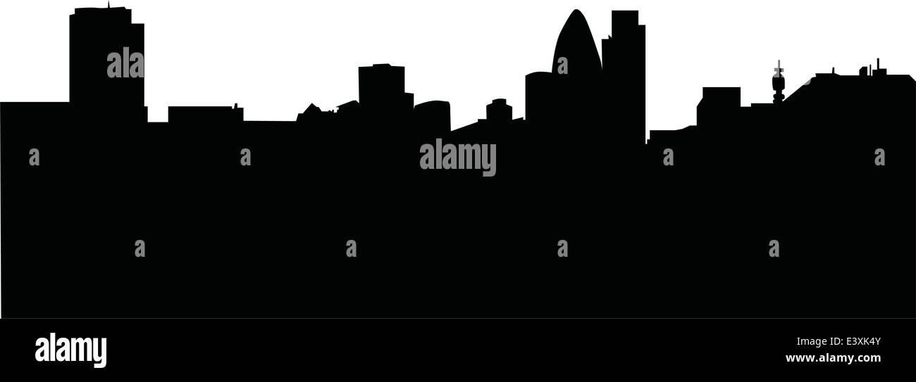 skyline of london business district black and white silhouette - Stock Vector