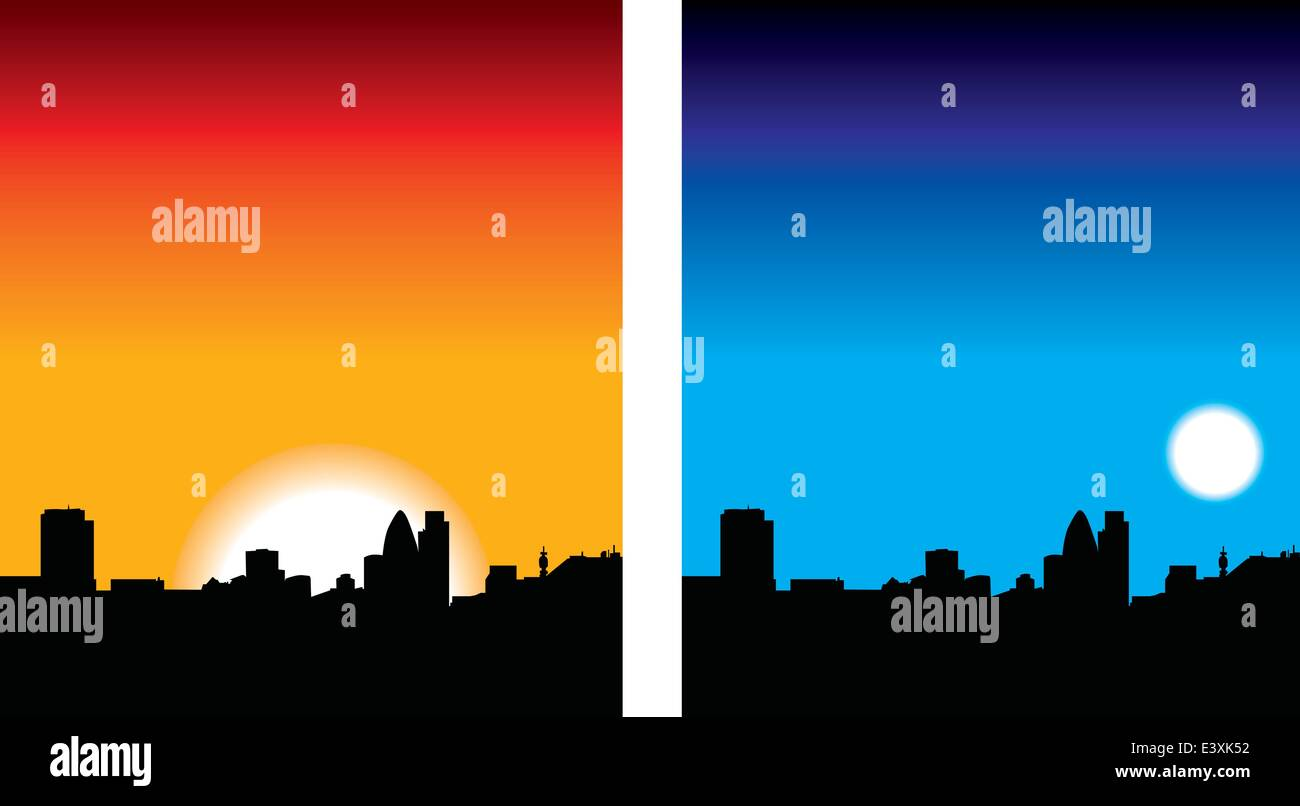 illustration set of london skyline at night and day - Stock Vector